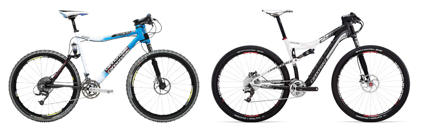 2001 cannondale scalpel and 2012 cannondale scalpel mountain bikes compared