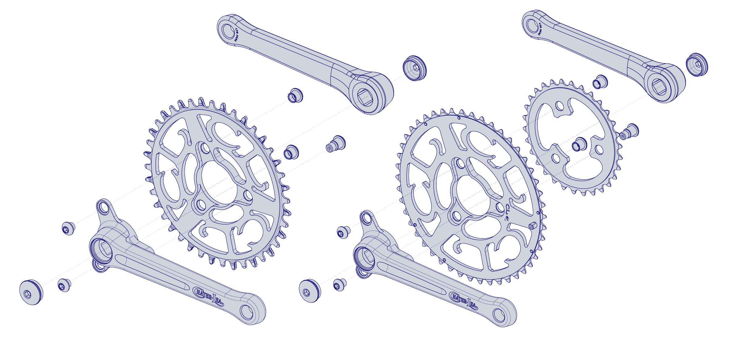 Chater-Lea Grand Tour Crankset, classic British road bike style, modern detail materials, UK-made alloy square taper all-road gravel 1x sub-compact road cranks