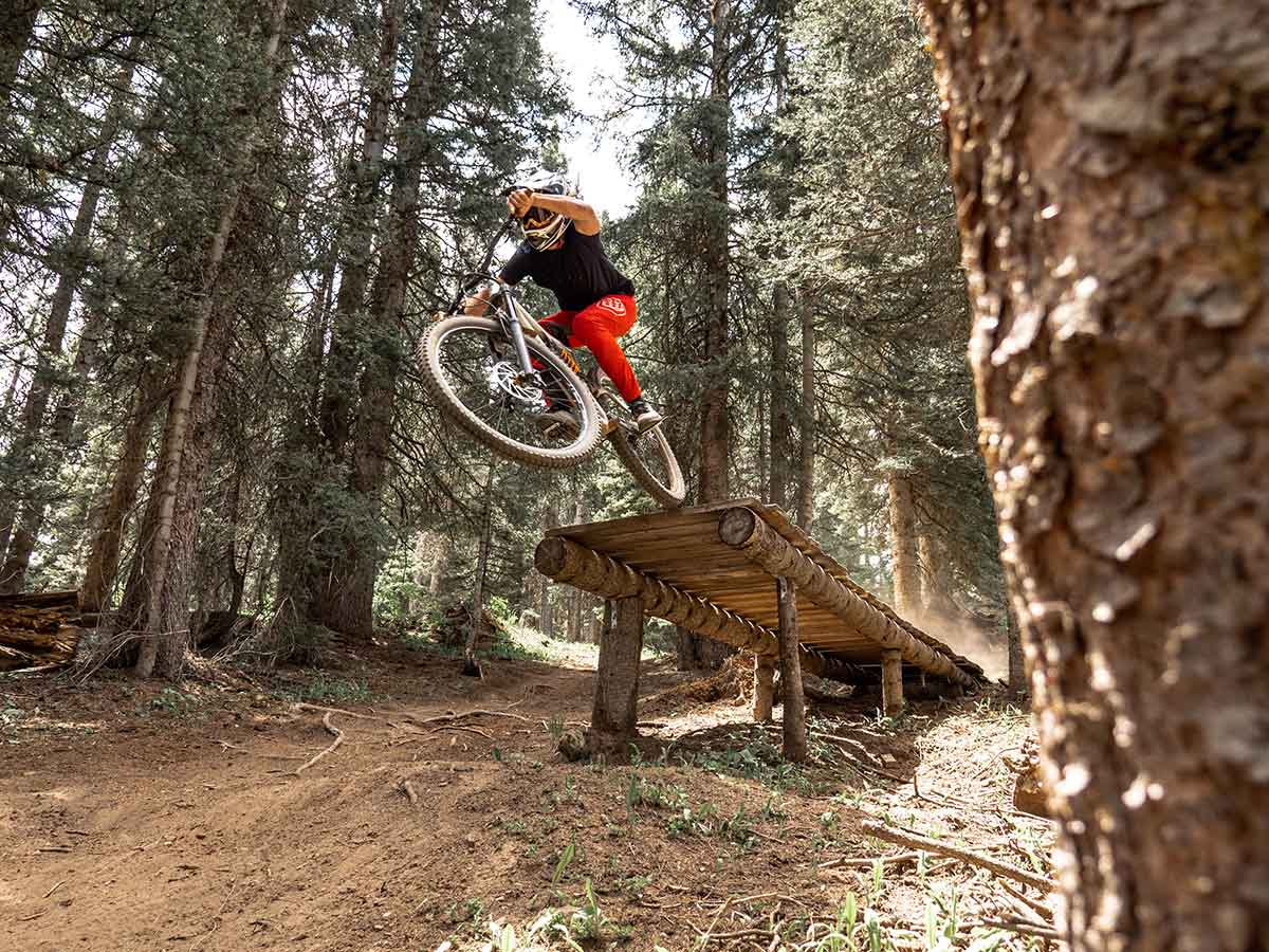 skills sections and ramps on advanced mountain bike trails in purgatory bike park