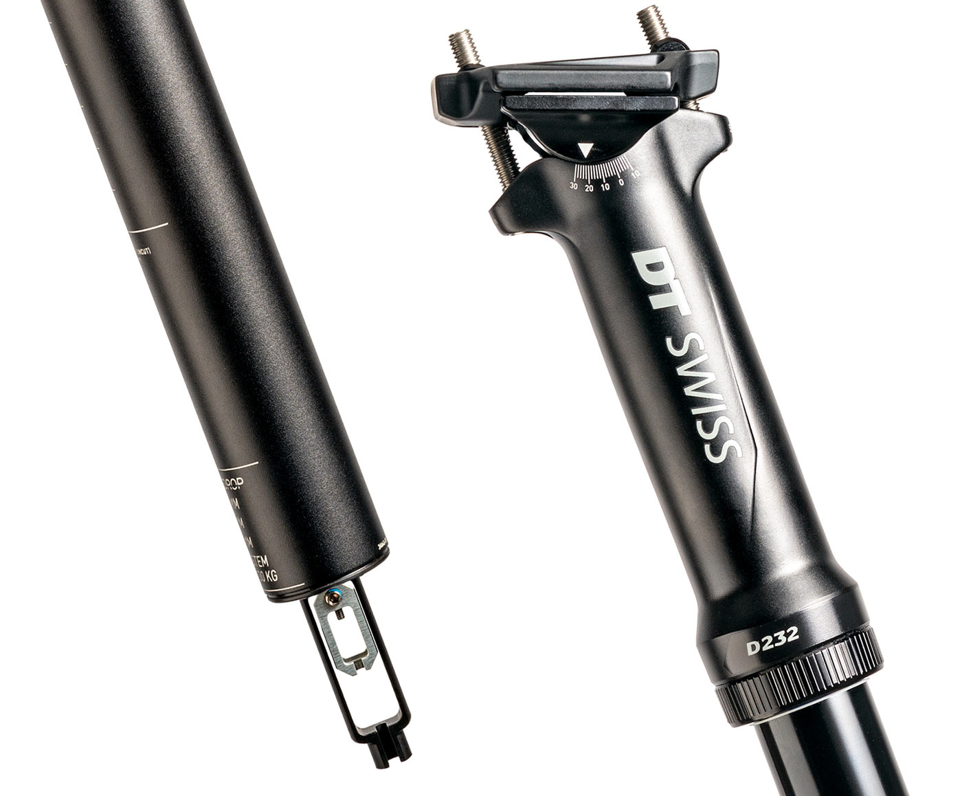 DT Swiss D 232 alloy dropper seatpost with upside down slider and alloy seat tube