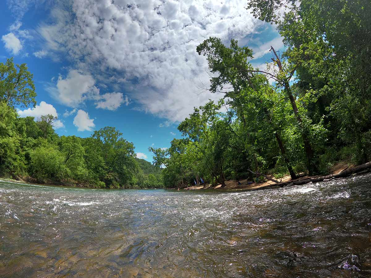 The river at at Explore Park near Roanoke Virginia is perfect for cooling off after the Treetop Quest ropes course