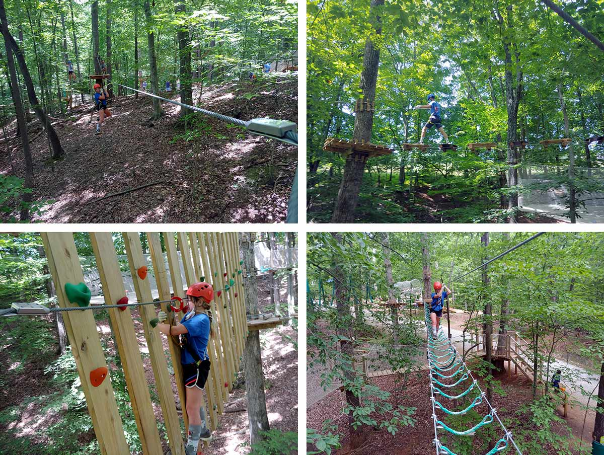 Treetop Quest high ropes course at Explore Park near Roanoke Virginia