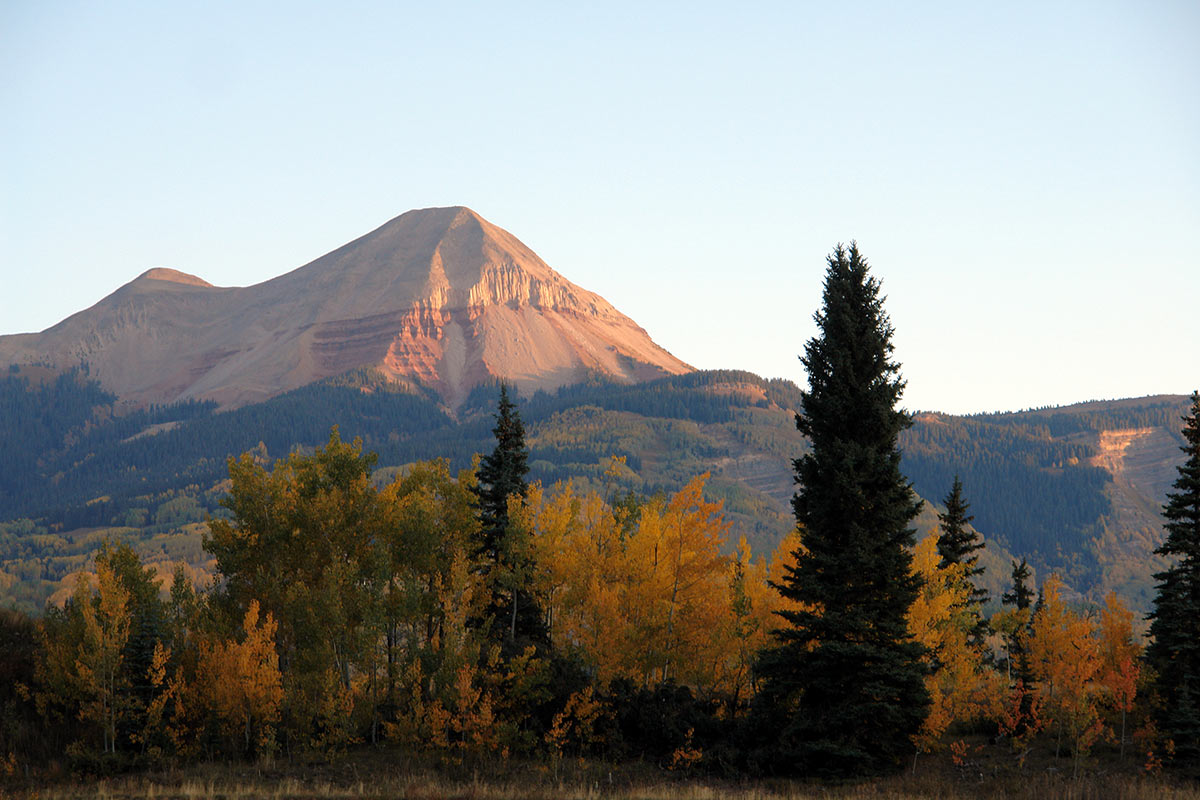 Fall colors in the mountains around purgatory bike park in durango colorado