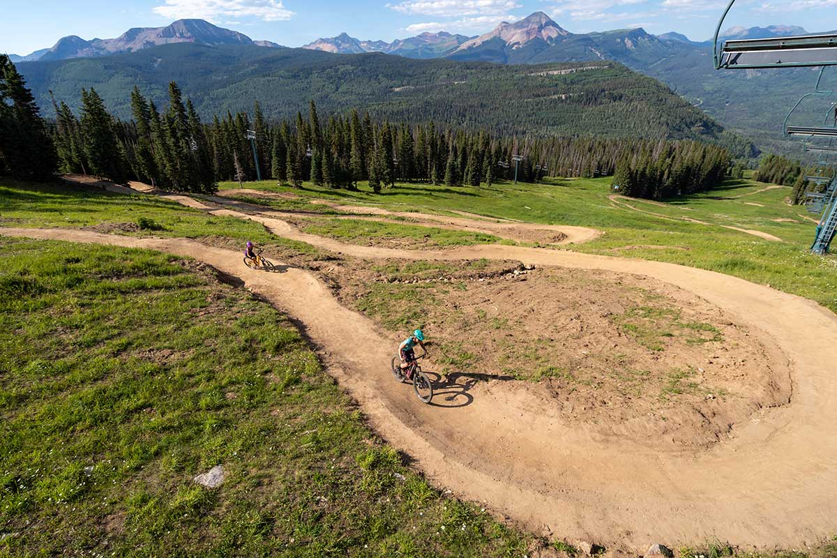 family friendly and beginner trails and skills sections at purgatory bike park in durango Colorado