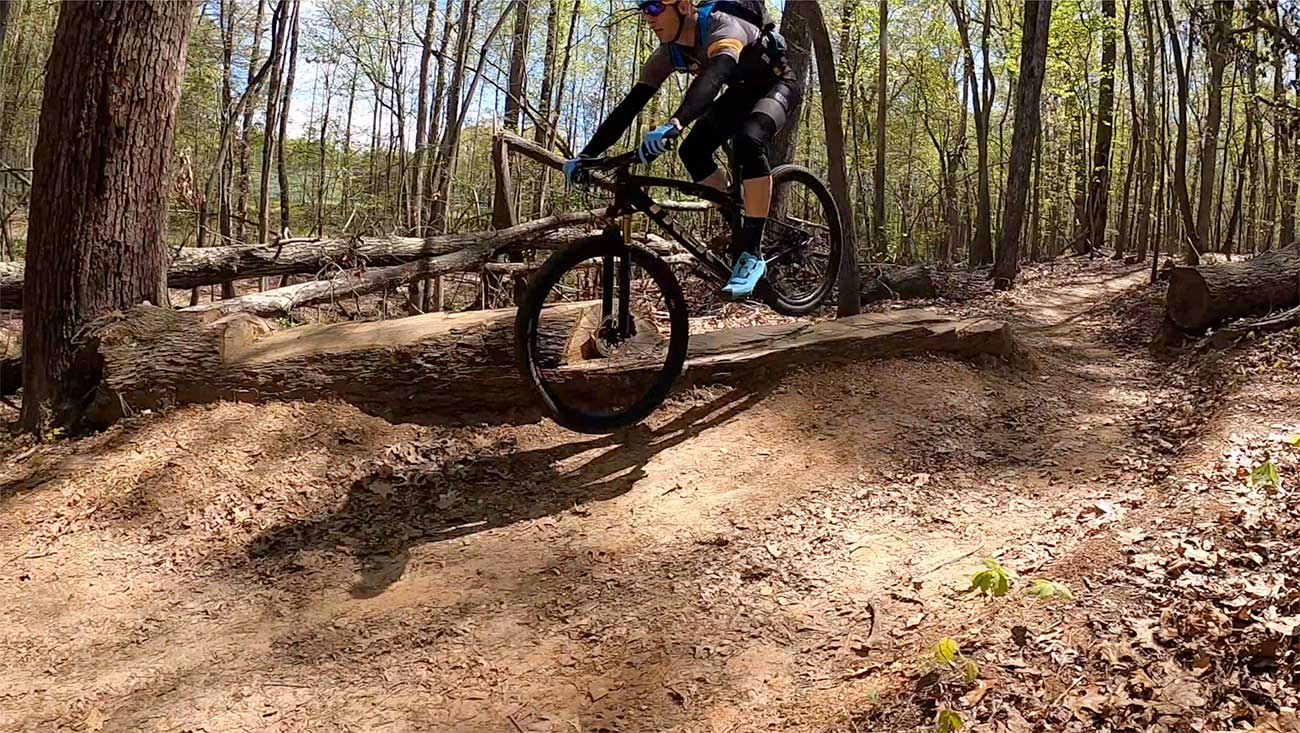 Trek Supercaliber ride review - action photo of tyler riding the cross country mountain bike