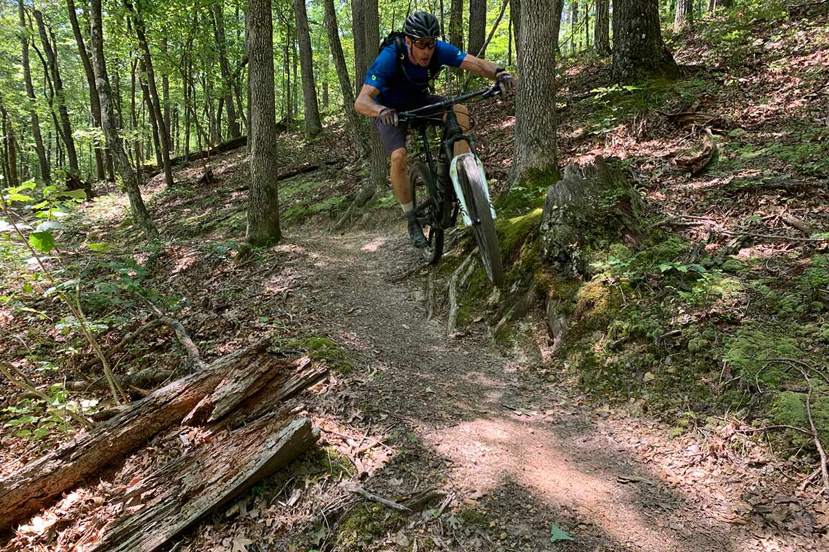 riding mountain bikes at carvins cove trails near roanoke virginia