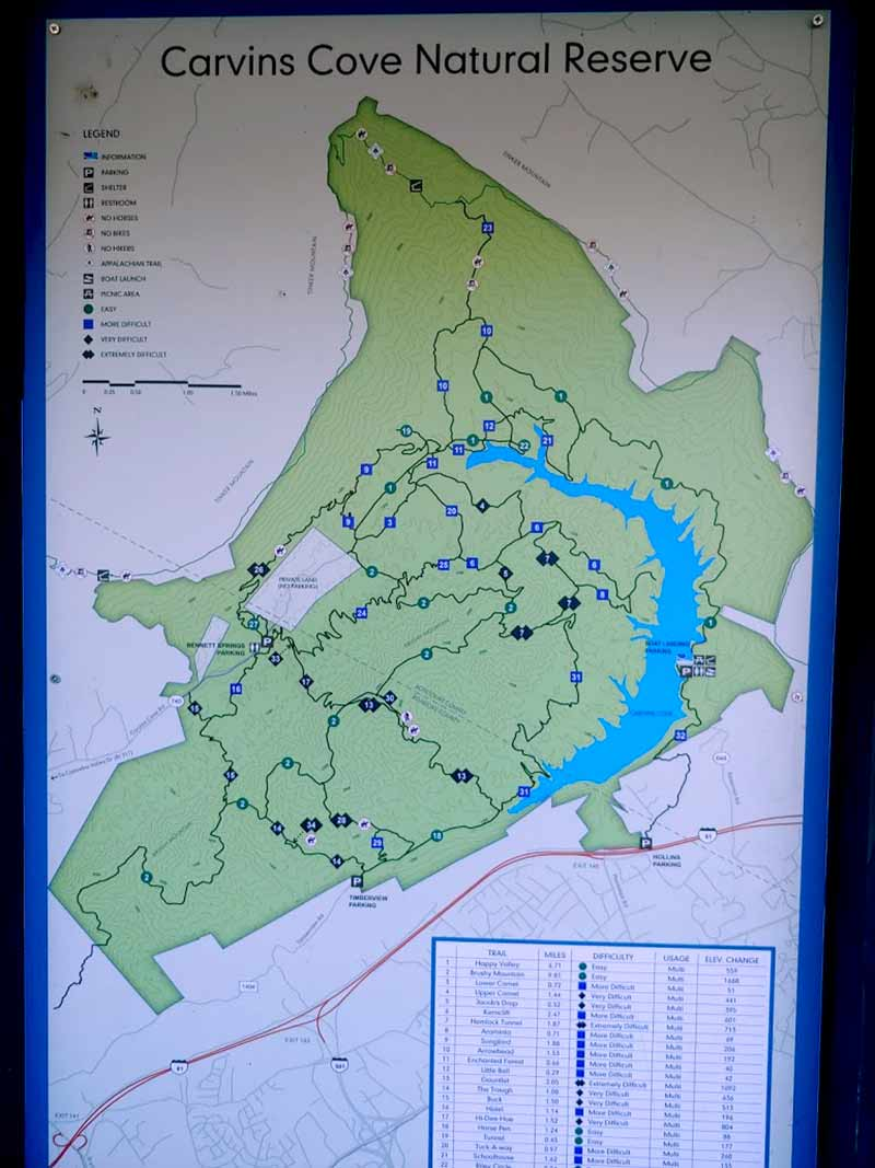 carvins cove mountain bike trail map sign