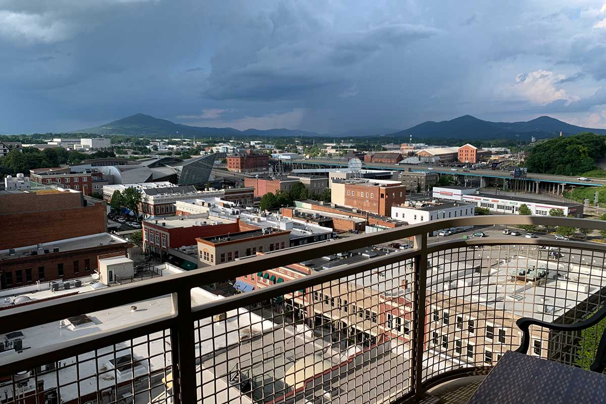 view from the Hampton inn and suites hotel in downtown roanoke virginia