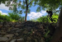 riding skeletor mountain bike trail at waid recreation park in virginia blue ridge