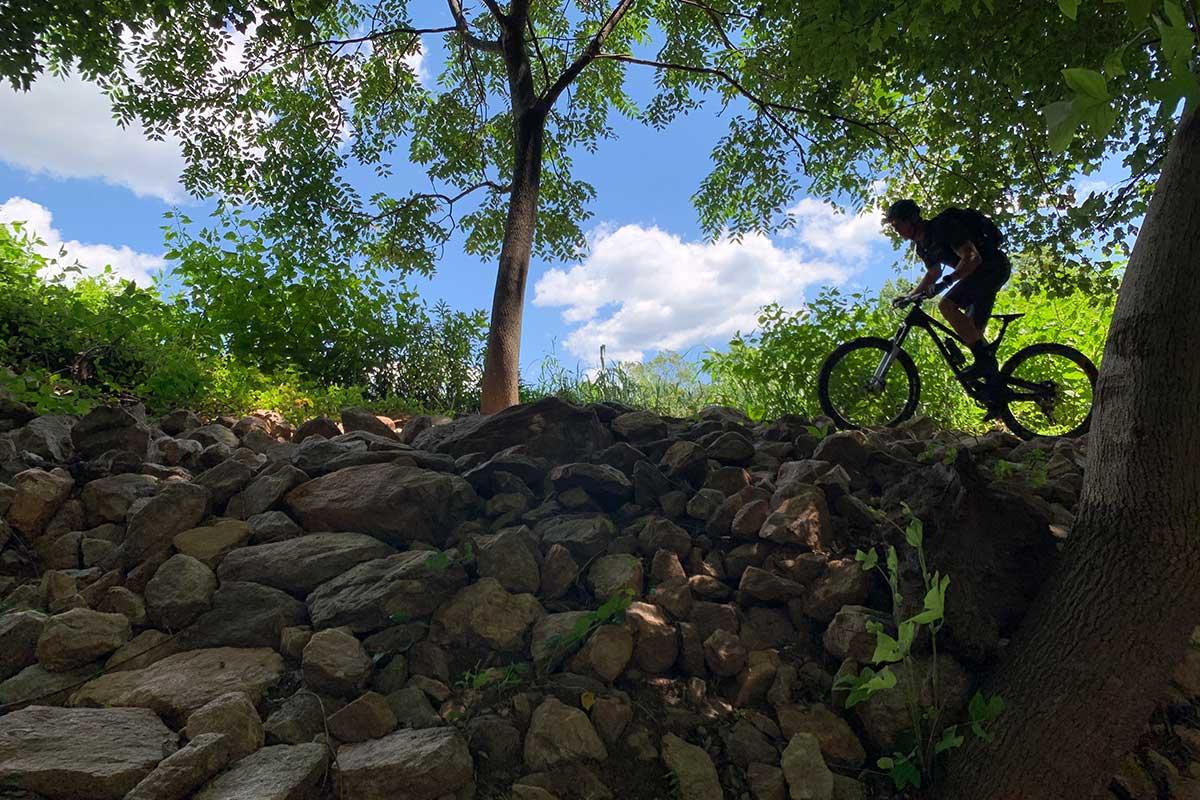 riding skeletor mountain bike trail at waid recreation park in virginia blue ridge