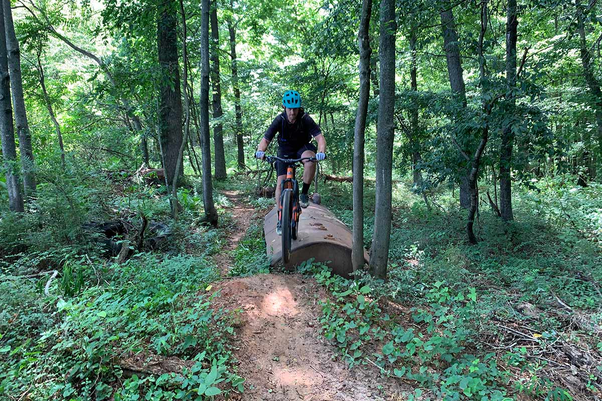 riding technical trail features at waid park mountain bike trails