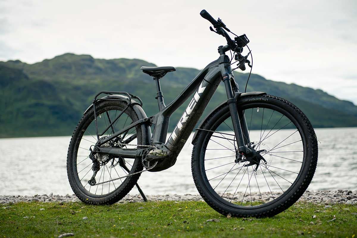 2021 trek Powerfly full suspension commuter e-mountain bike for country roads and bikepacking