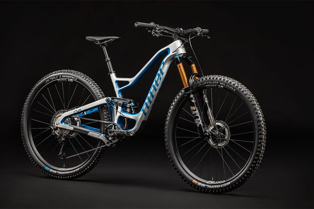 new shiny metallic silver and blue color for niner rip9 rdo mountain bike