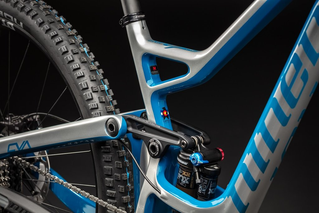 closeup detail of the new silver baja blue color for niner rip 9 enduro mountain bike