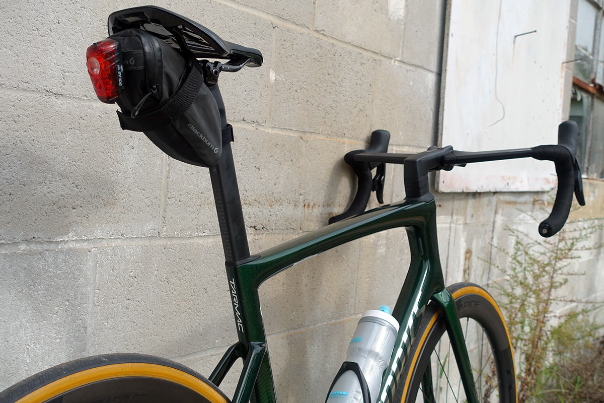 frame details of the new 2021 specialized tarmac sl7 s-works aero road bike shows sculpted tube shapes and profiles