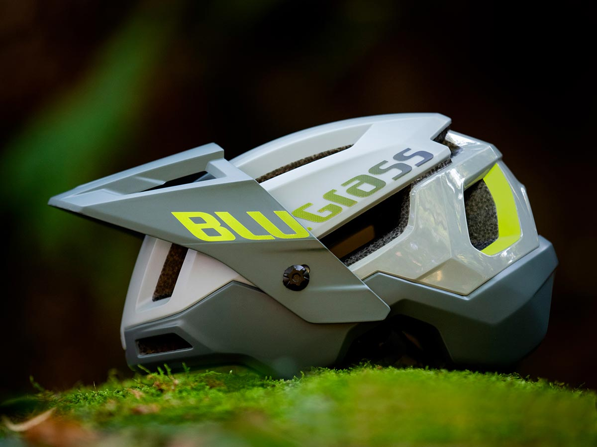 new bluegrass open-face helmet with visor up can stow goggles or gopro mount under visor