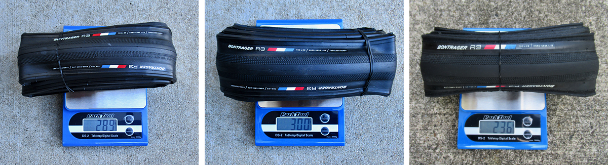 Bontrager R3 size and weight comparison