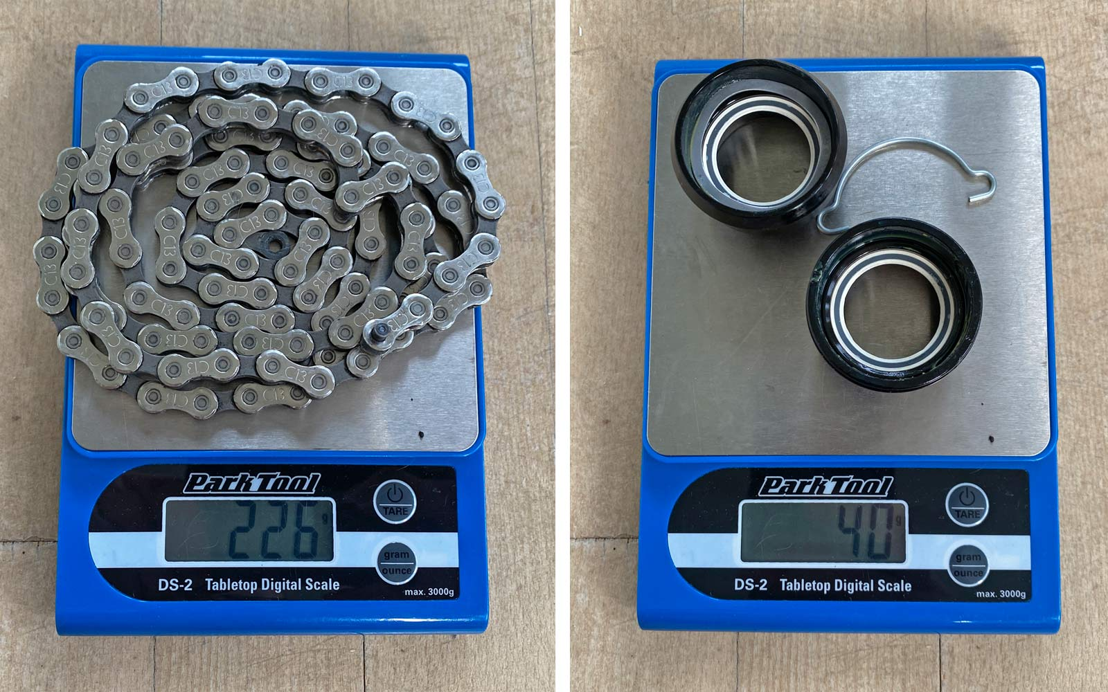 Campagnolo Campy Ekar 1x13 gravel bike component breakdown, chain & BB Actual Weight