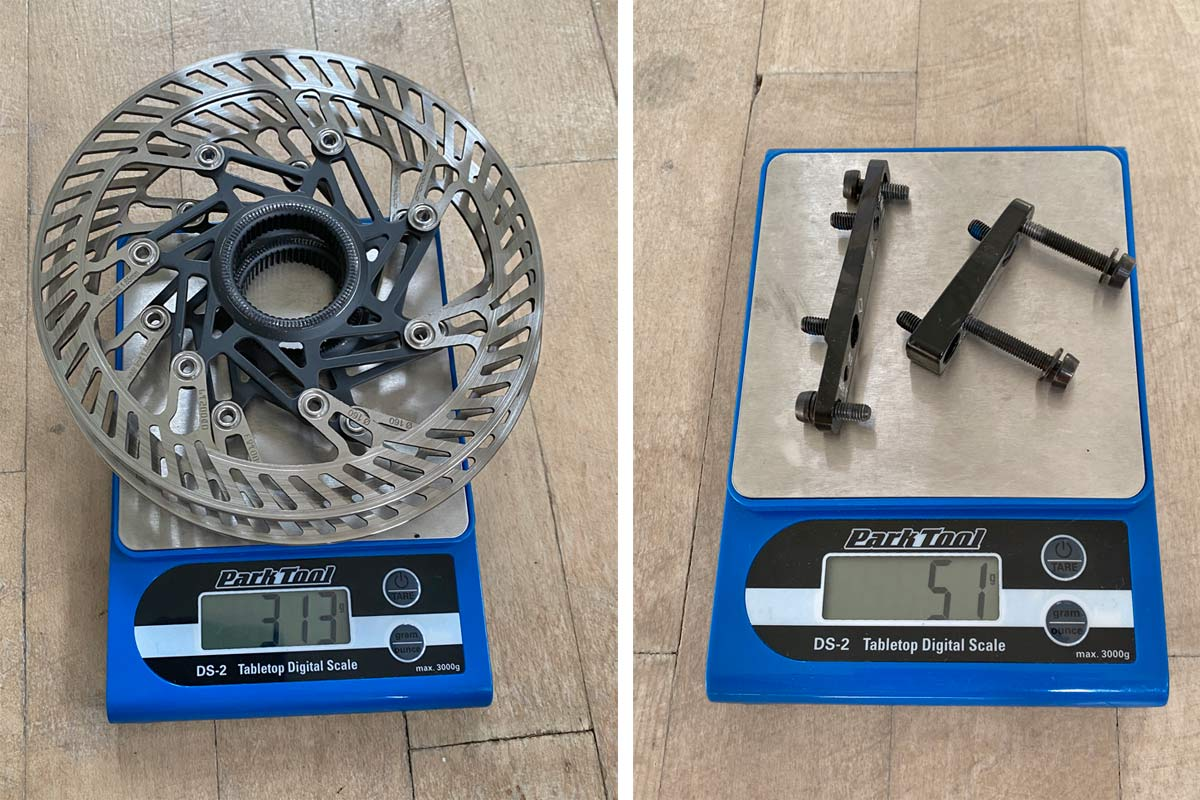 Campagnolo Campy Ekar 1x13 gravel bike component breakdown, rotors & brake hardware Actual Weight