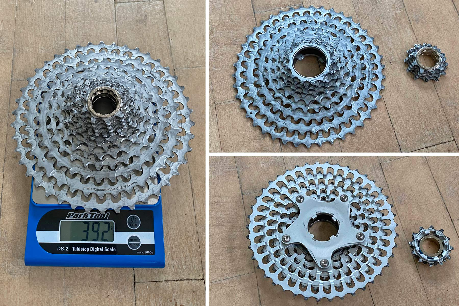Campagnolo Campy Ekar 1x13 gravel bike component breakdown, 13-speed cassette Actual Weight