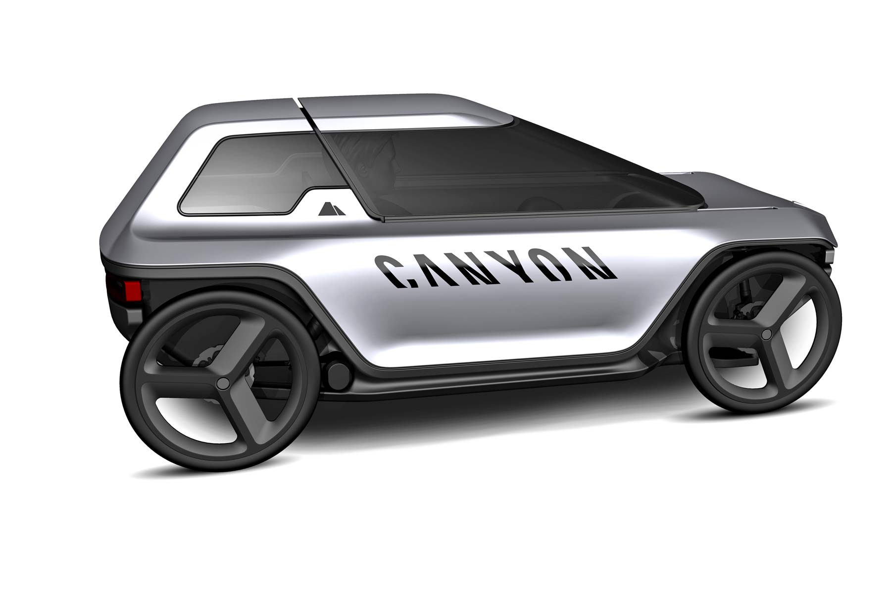 Canyon Future Mobility Concept, electric-assist commuter pedal car, prototype micro car, rendering