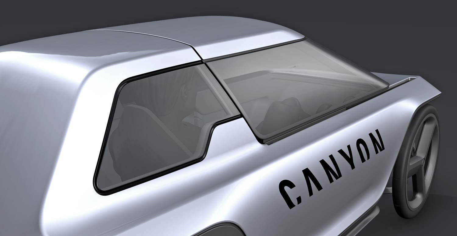 Canyon Future Mobility Concept, electric-assist commuter pedal car, prototype micro car, rendering closed lid