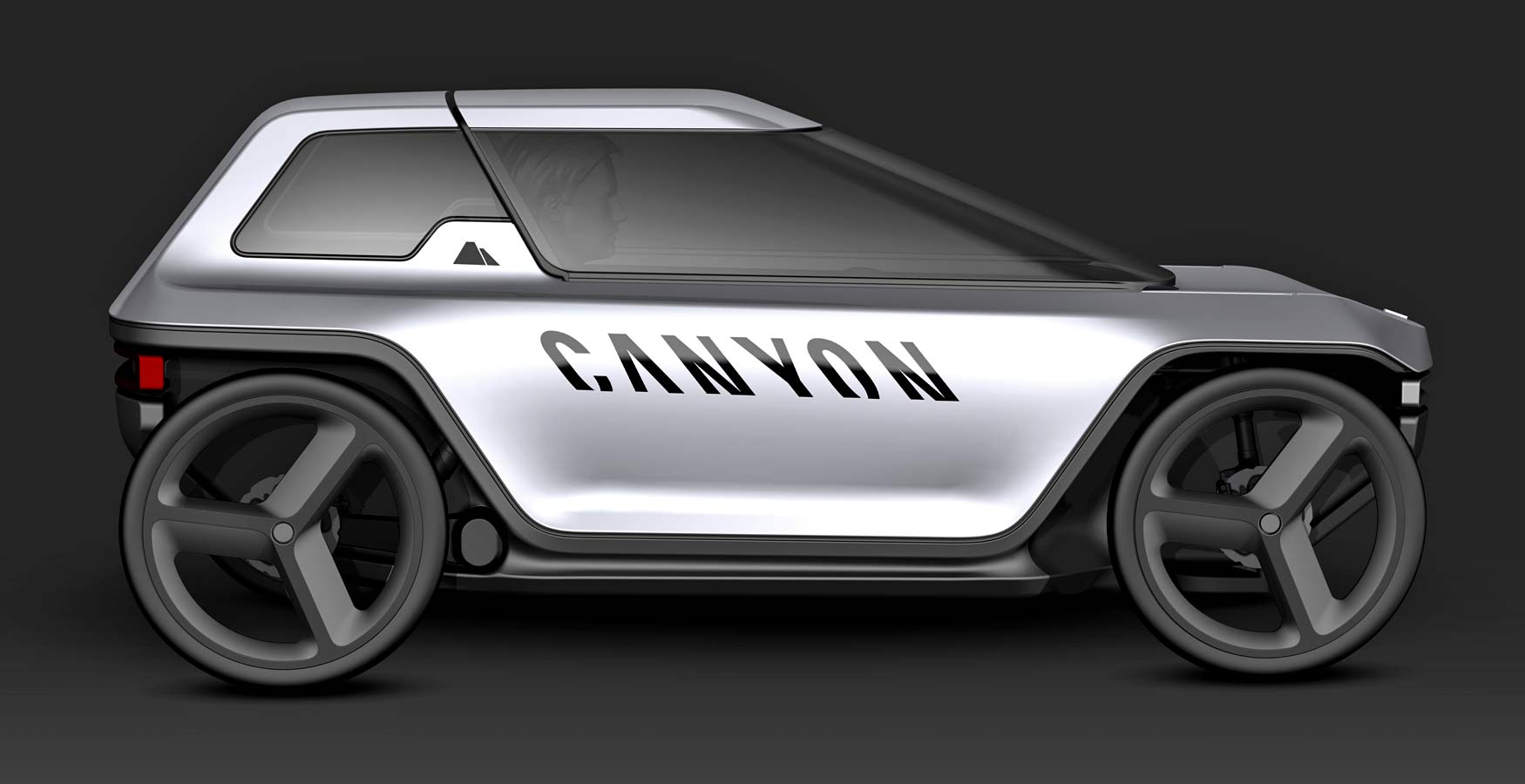 Canyon Future Mobility Concept, electric-assist commuter pedal car, prototype micro car, rendering side