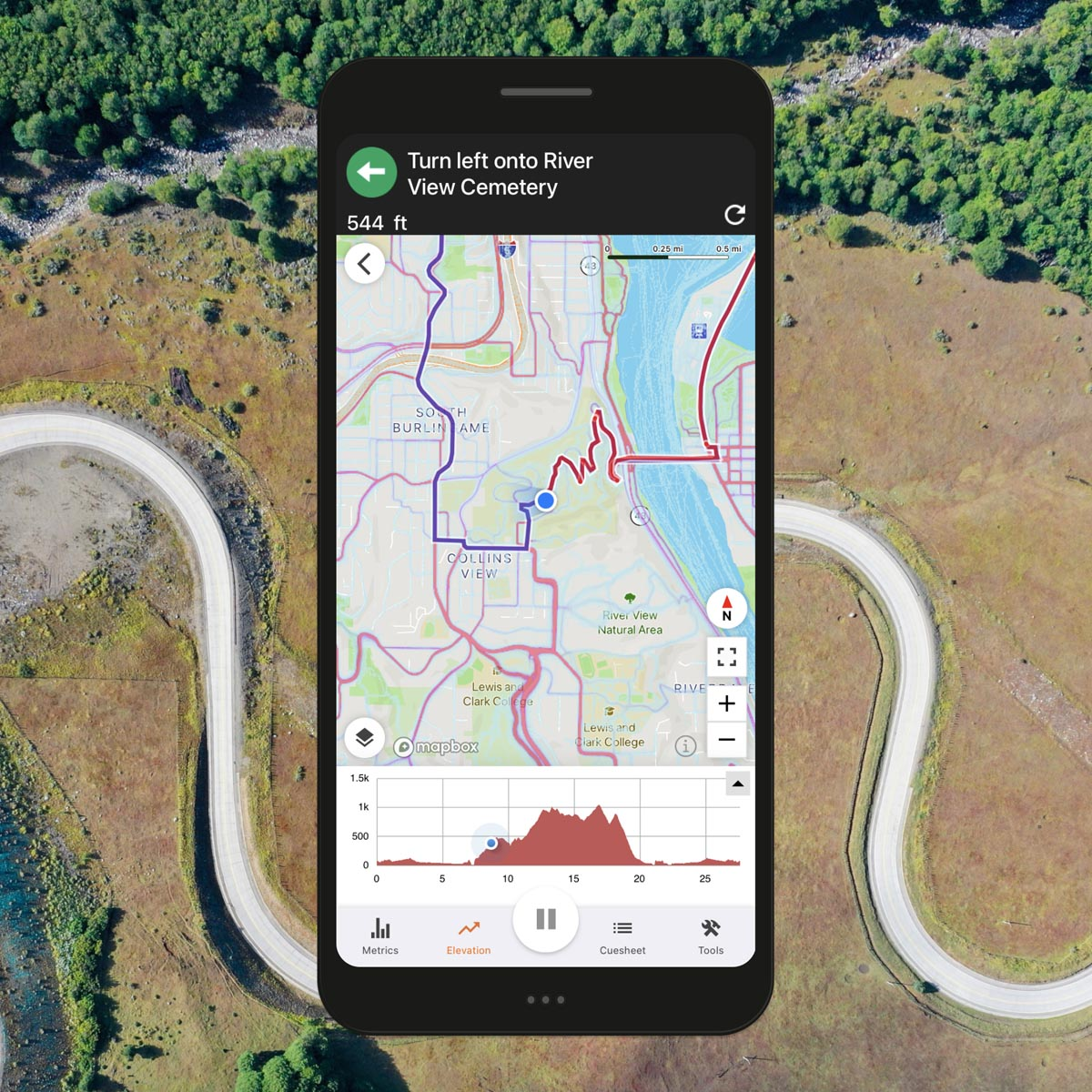 Ride with GPS heatmap mobile