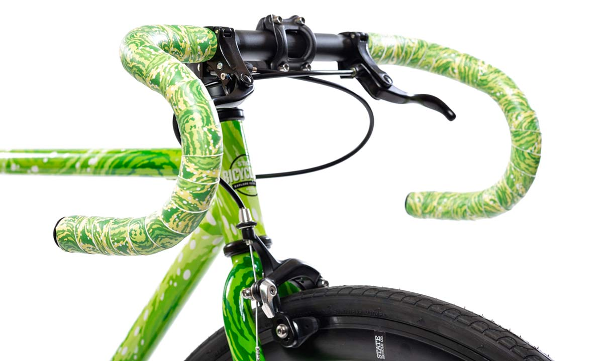 State Bicycle Co x Rick and Morty collection, limited edition interdimensional portal bikes clothing accessories green details