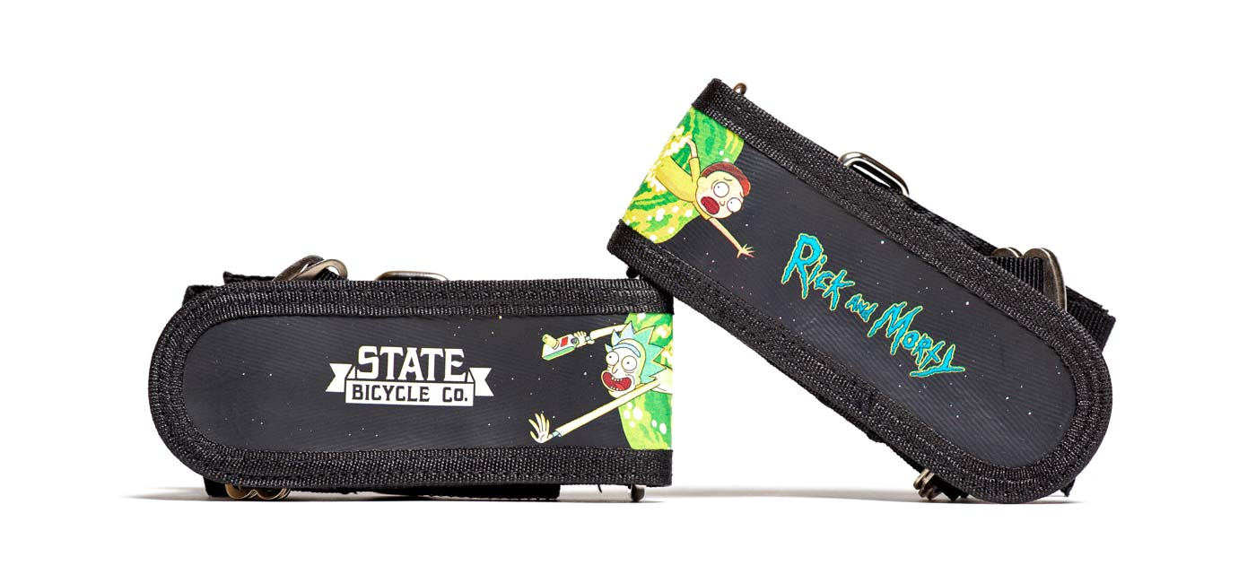 State Bicycle Co x Rick and Morty collection, limited edition interdimensional portal bikes clothing accessories, pedal straps
