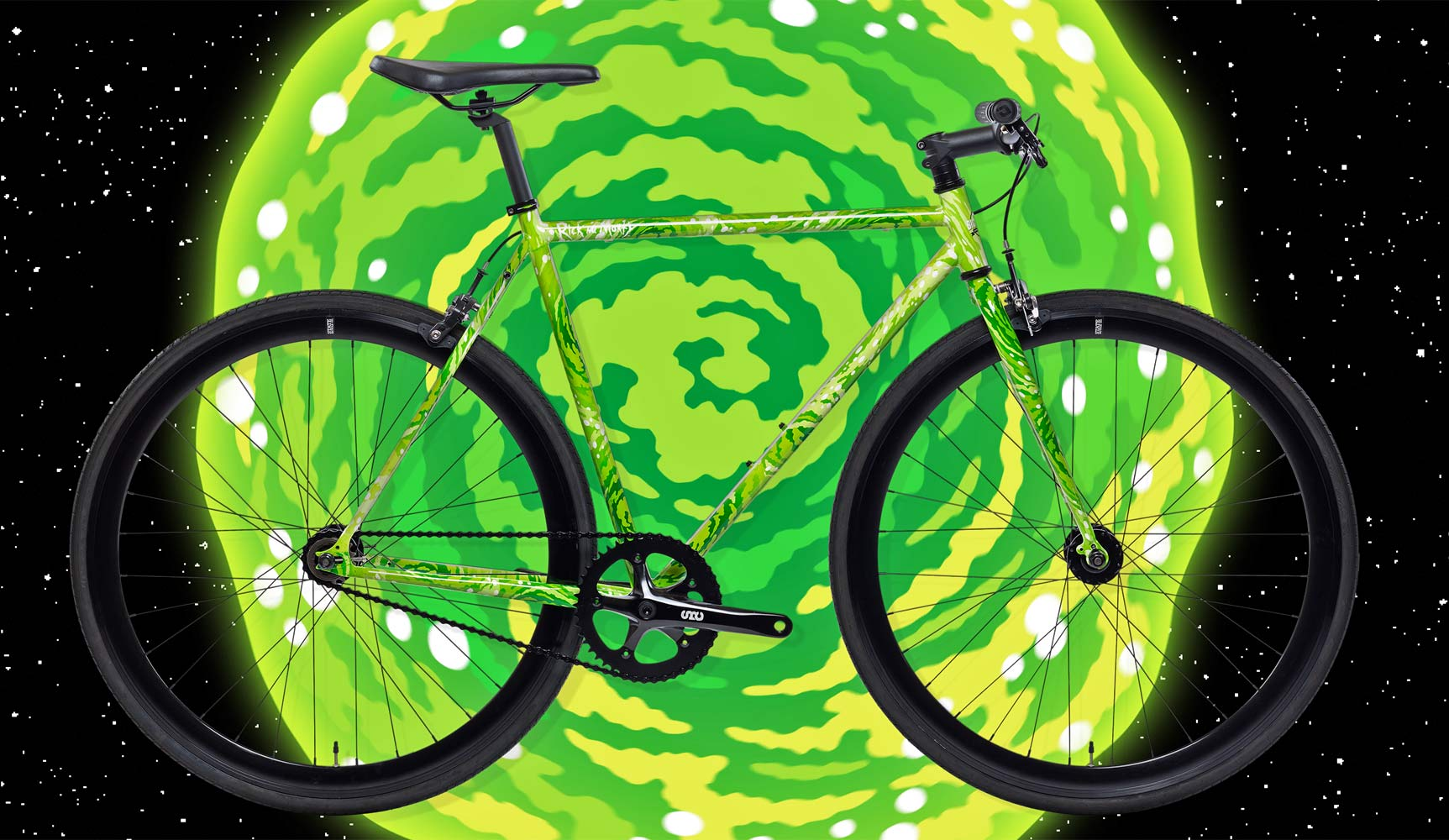 State Bicycle Co x Rick and Morty collection, limited edition interdimensional portal bikes clothing accessories, spiral