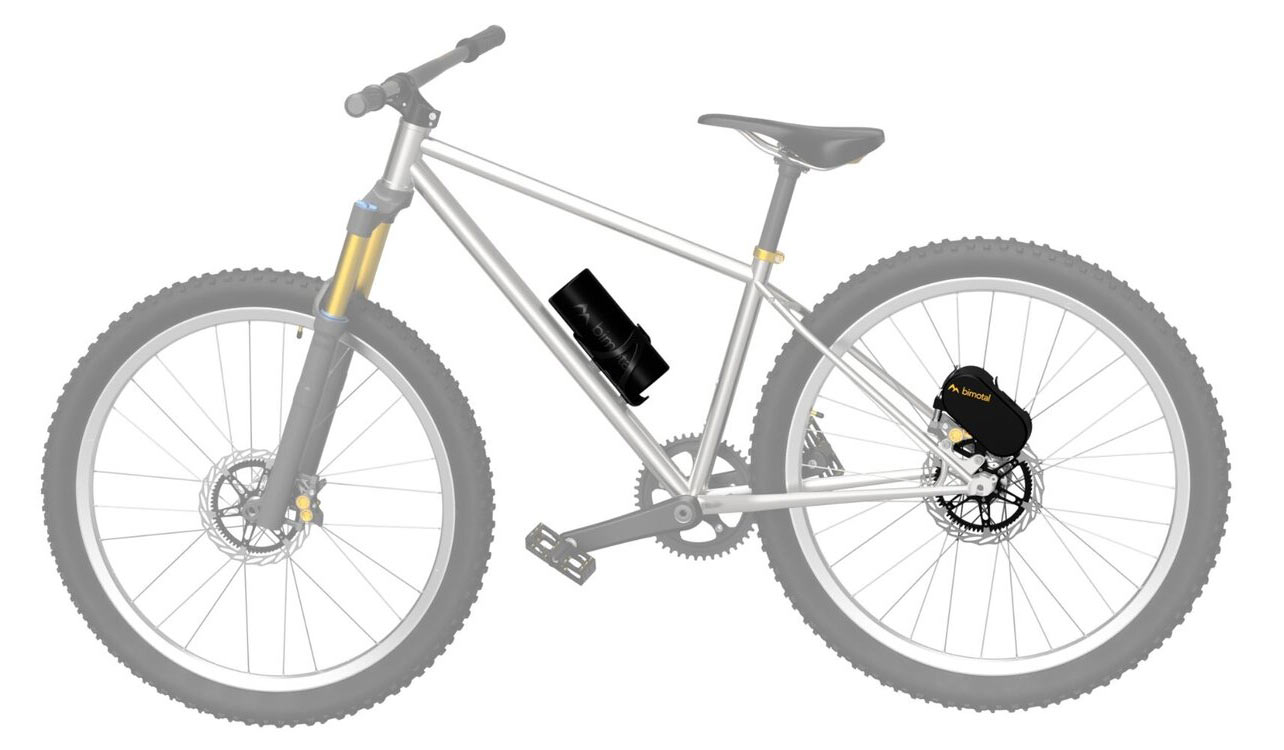 digram showing parts added to the bike for the Bimotal Elevate e-bike motor system