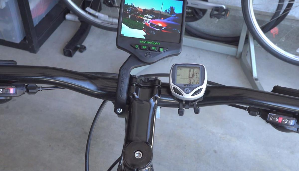 cyclesight rear view camera for cycle commuters bar mounted display unit
