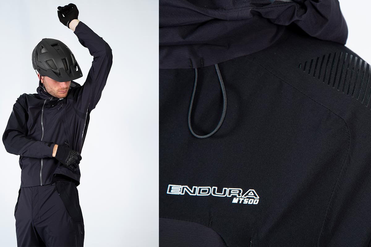 endura mt500 waterproof onesie for mtb has large underarm vents silicone strips shoulder durability carrying backpack