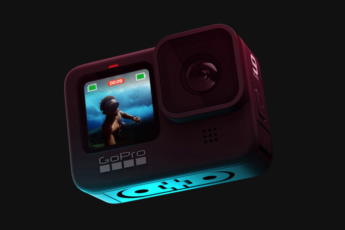 GoPro hero9 black action camera front view with new full color live view screen