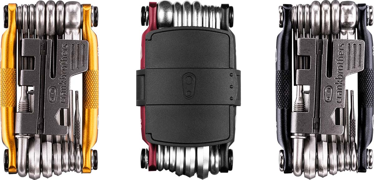 m20 crankbrothers multitools available in gold black red colorways