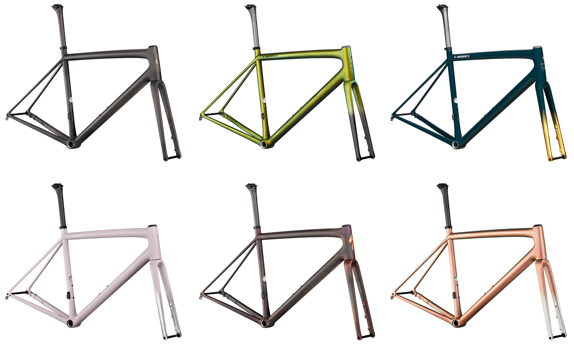 paint color options for the Specialized Aethos S-Works road bikes and framesets