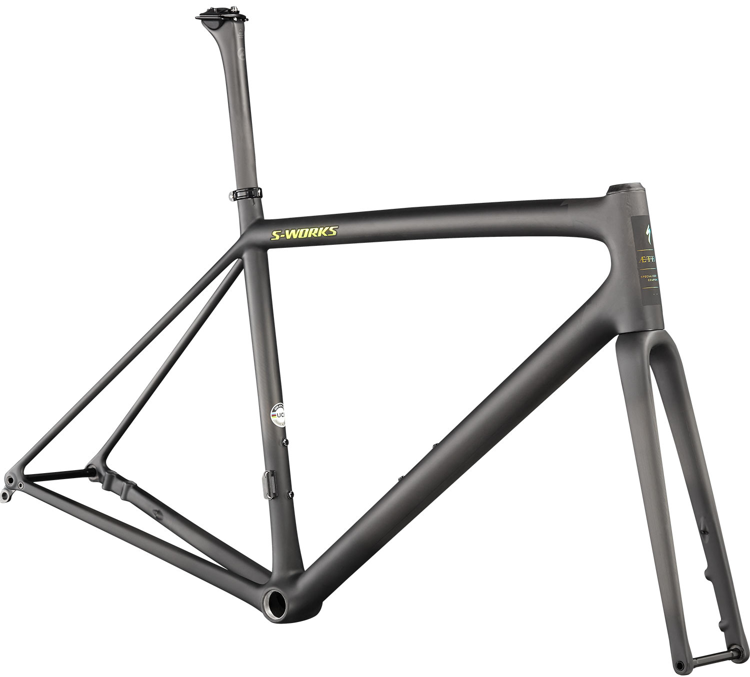 specialized aethos s-works jet fuel colorway in unpainted carbon fiber