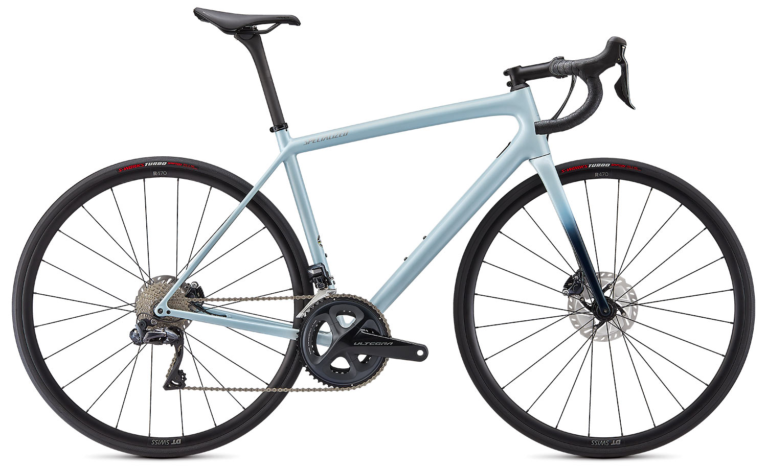 new specialized aethos lightweight carbon road bike in expert build trim and ice blue fade paint scheme