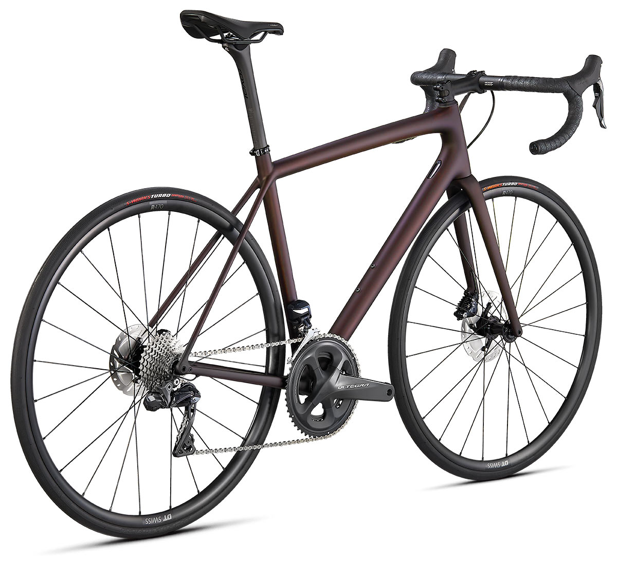 new specialized aethos lightweight carbon road bike in expert build trim and red tint paint scheme