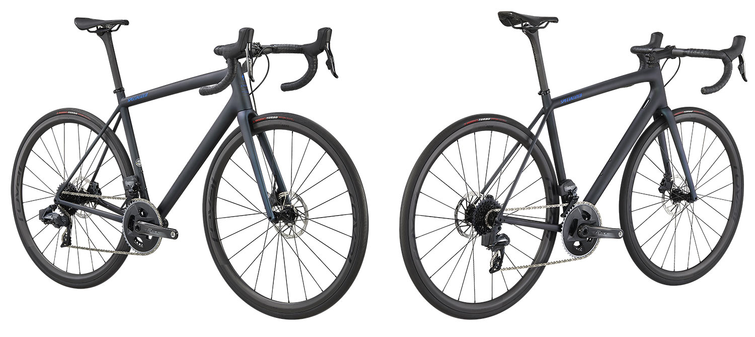 new specialized aethos road bike with sram force etap axs build spec in dark metallic blue color