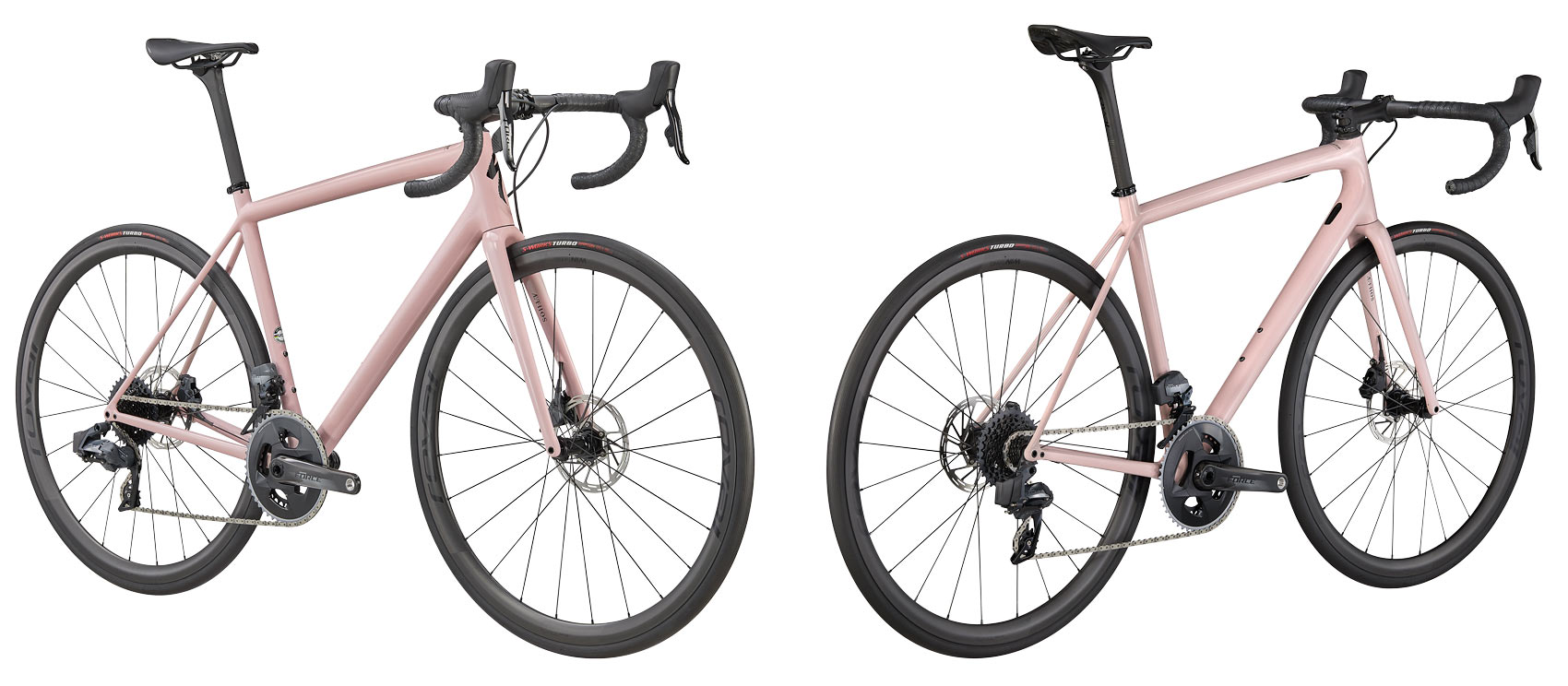 new specialized aethos road bike with sram force etap axs build spec in pink blush rose color