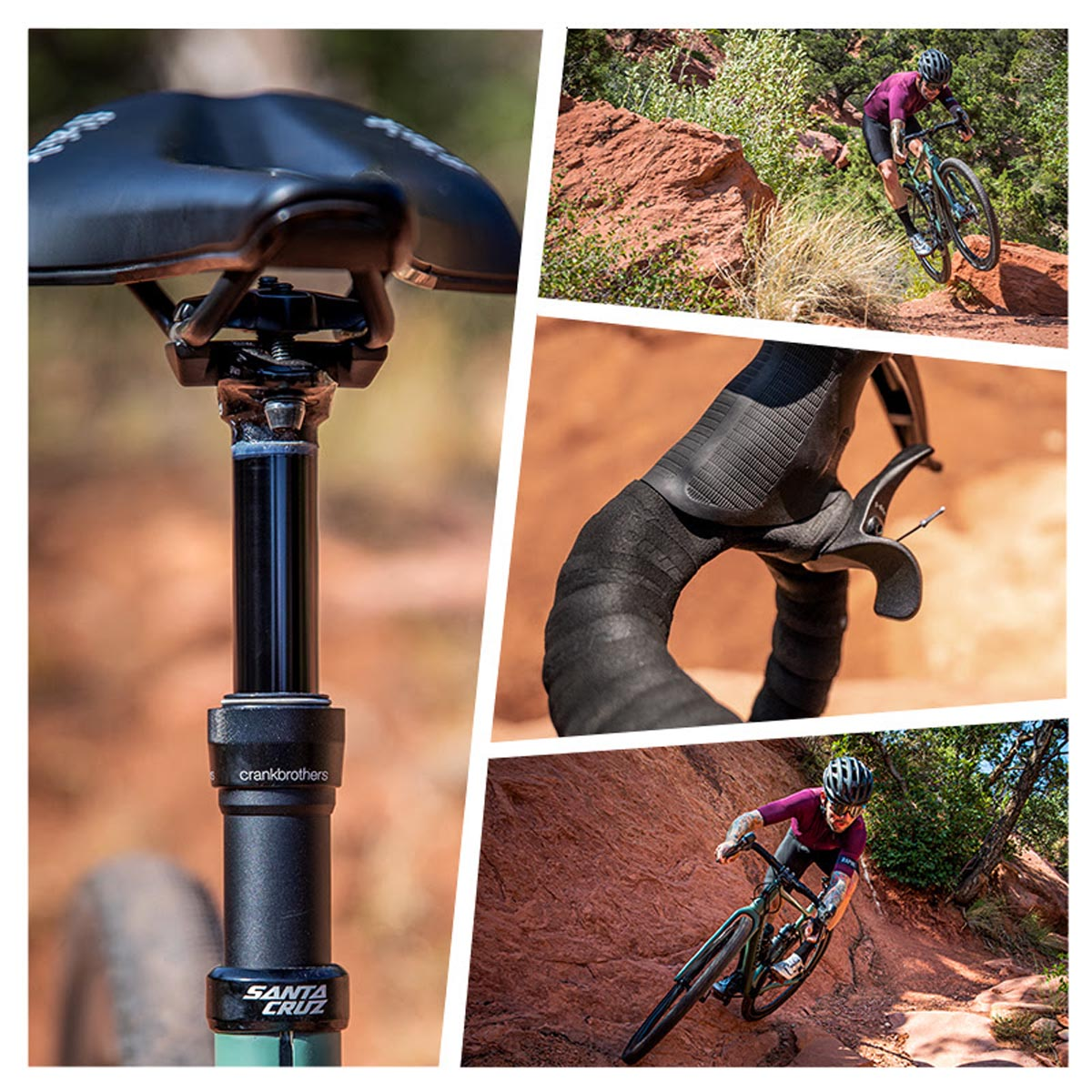 Crankbrothers Highline XC / Gravel dropper post two way remote collage
