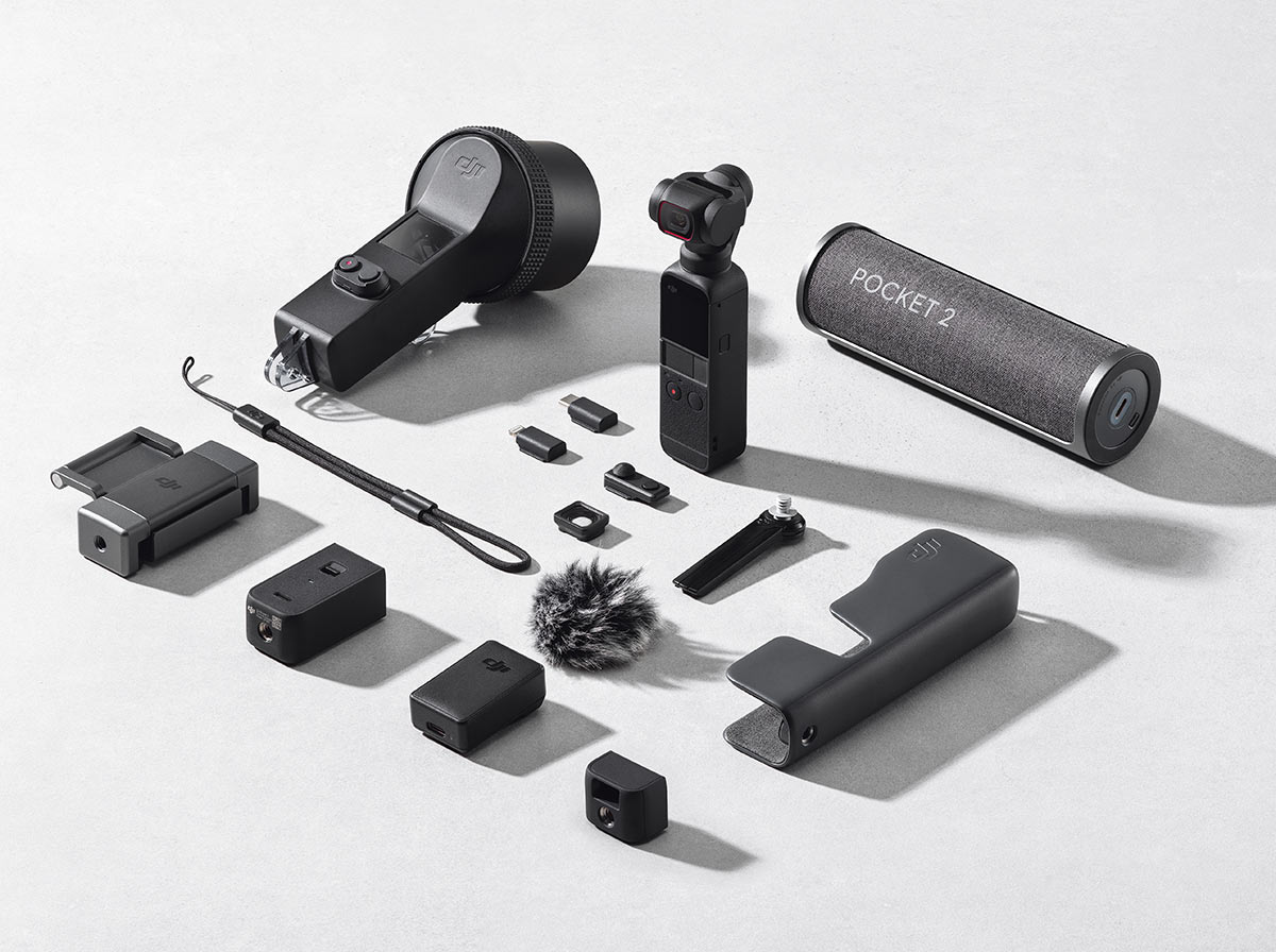 all of the accessories for the new DJI Pocket 2 gimbal cam include a waterproof housing, wireless speaker and base handle with auxiliary ports