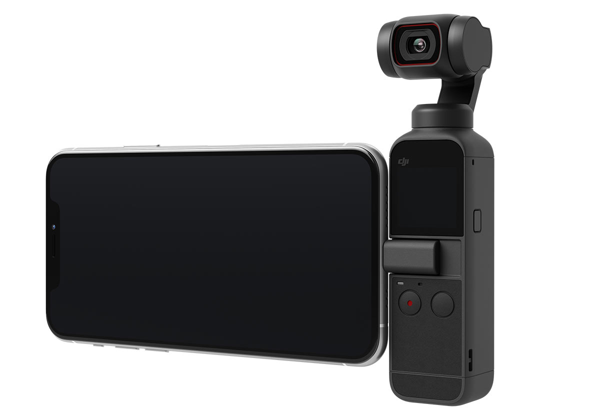 dji pocket 2 gimbal cam with smartphone attached as a second screen
