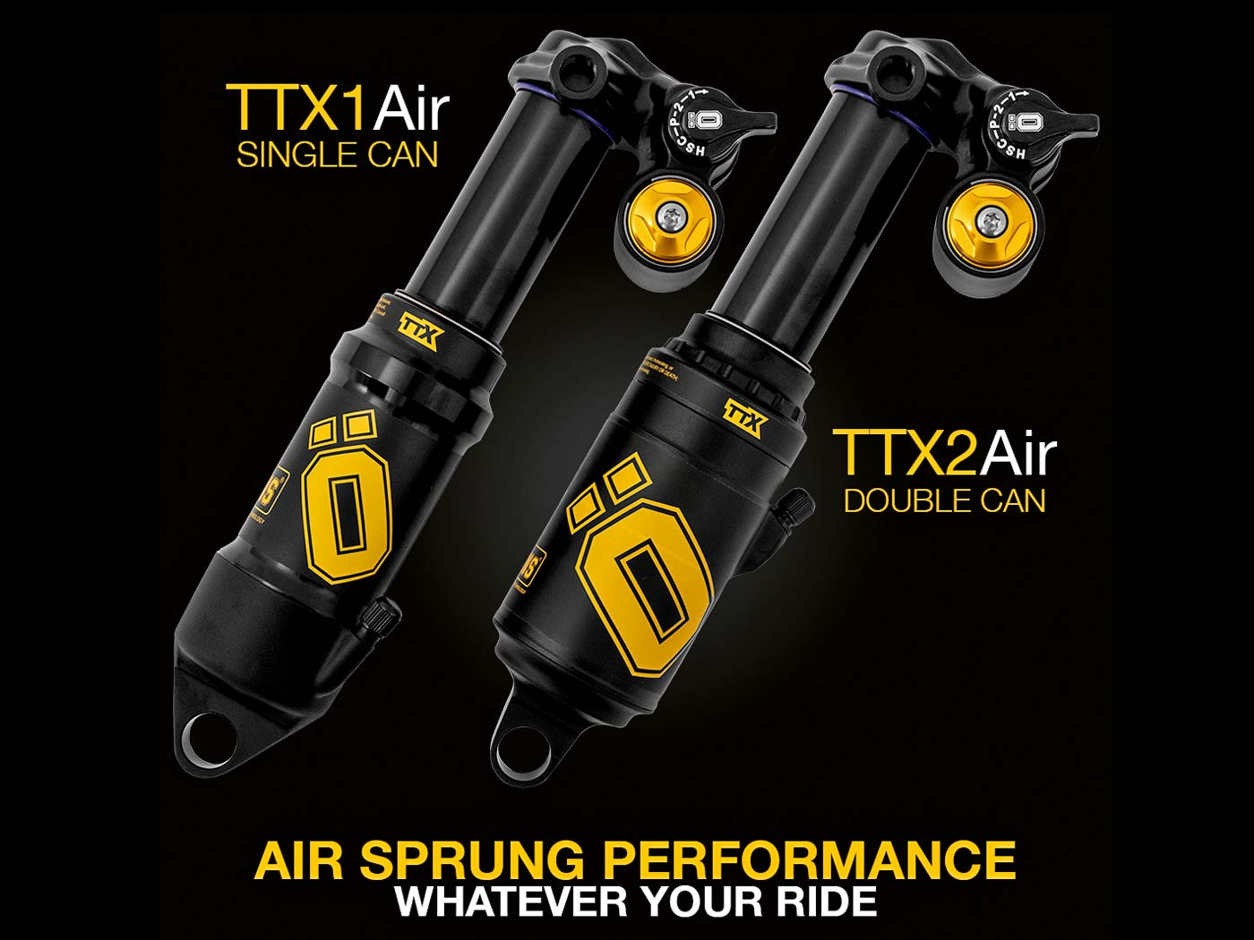 Ohlins TTX Air shocks, tunable single-air TTX1Air or dual-air TTX2Air trail enduro eMTB all-mountain bike rear suspension,comparison