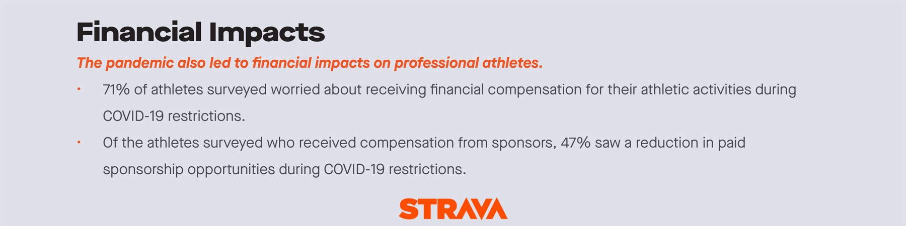 Strava + Stanford professional athlete COVID-19 impacts study, Financial Impacts