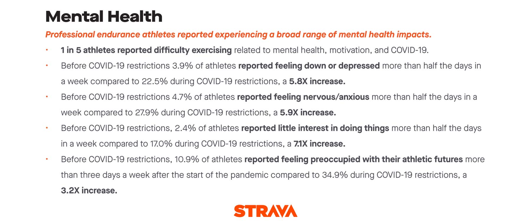 Strava + Stanford professional athlete COVID-19 impacts study, Mental Health impacts