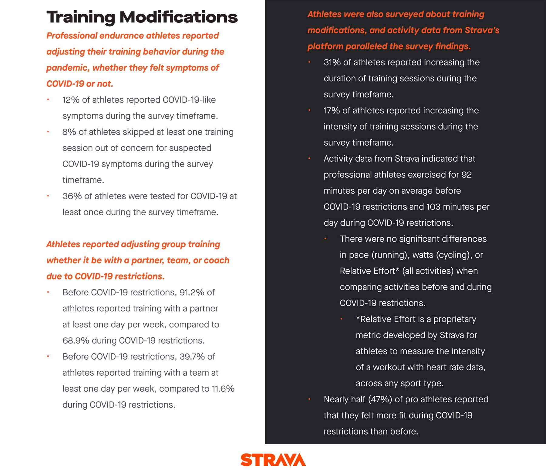 Strava + Stanford professional athlete COVID-19 impacts study, Training modifications