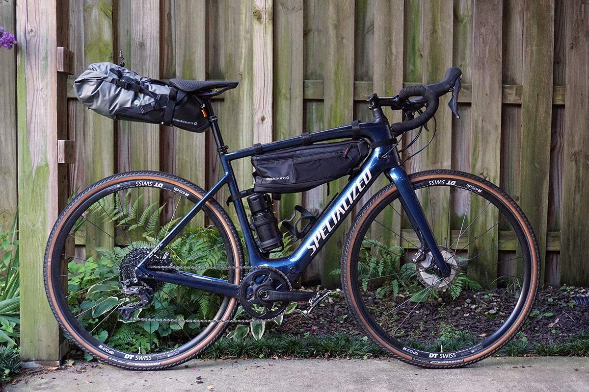 blackburn outpost bikepacking frame bag saddle bag and top tube bag mounted to a specialized creo sl electric assist road bike